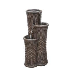 "27.25"""" Brown Woven Wicker Inspired Three Tier Outdoor Patio Garden Water Fountain"