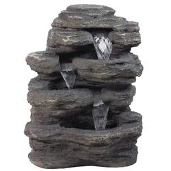 "24"""" LED Lighted Multi-Tiered Rock Look Outdoor Patio Garden Water Fountain"