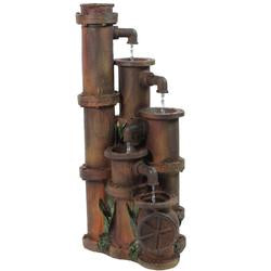"23.5"""" Rusted Cascading Pipes Outdoor Patio Garden Water Fountain"
