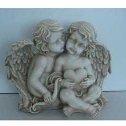 "16.25"""" Sitting Cherub Angels Holding a Heart and Bow Outdoor Garden Statue"