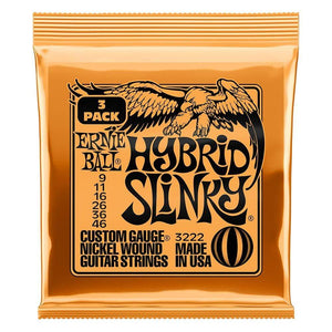 Ernie Ball Hybrid Slinky Electric Guitar Strings 3 Pack Front