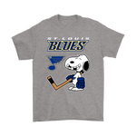 St. Louis Blues Ice Hockey Broken Teeth Snoopy NHL Shirts-Gildan Mens T-Shirt-Sport Grey-S-TeexTee