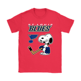 St. Louis Blues Ice Hockey Broken Teeth Snoopy NHL Shirts-Gildan Womens T-Shirt-Red-S-TeexTee