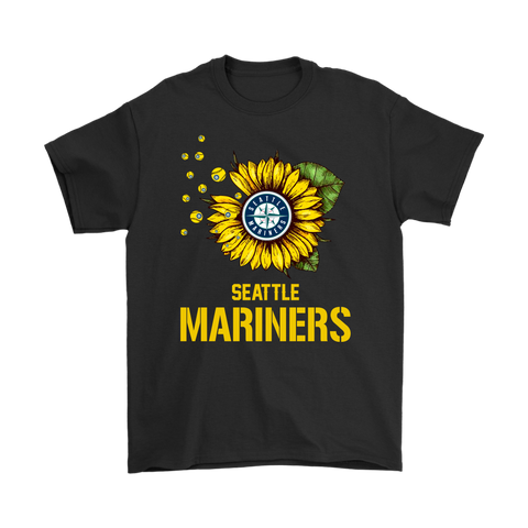 Seattle Mariners Sunflower MLB Baseball Shirts-Gildan Mens T-Shirt-Black-S-TeexTee