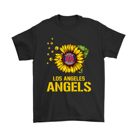 Los Angeles Angels Sunflower MLB Baseball Shirts-Gildan Mens T-Shirt-Black-S-TeexTee