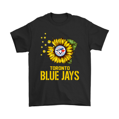 Toronto Blue Jays Sunflower MLB Baseball Shirts-Gildan Mens T-Shirt-Black-S-TeexTee