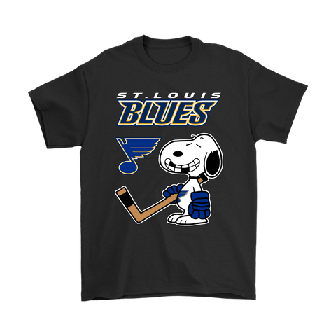 St. Louis Blues Ice Hockey Broken Teeth Snoopy NHL Shirts-Gildan Mens T-Shirt-Black-S-TeexTee