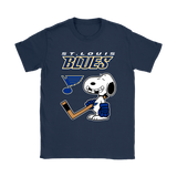 St. Louis Blues Ice Hockey Broken Teeth Snoopy NHL Shirts-Gildan Womens T-Shirt-Navy-S-TeexTee