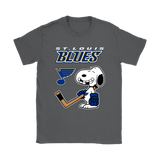 St. Louis Blues Ice Hockey Broken Teeth Snoopy NHL Shirts-Gildan Womens T-Shirt-Charcoal-S-TeexTee