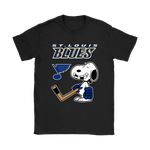 St. Louis Blues Ice Hockey Broken Teeth Snoopy NHL Shirts-Gildan Womens T-Shirt-Black-S-TeexTee