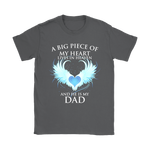 A Big Piece Of My Heart Lives In Heaven Shirts | Family Father Fathers Day Heaven Love