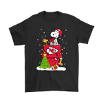 A Happy Christmas With Kansas City Chiefs Snoopy Shirts | Christmas Football Holiday Kansas City Chiefs Mashup