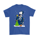 A Happy Christmas With Los Angeles Rams Snoopy Shirts | Christmas Football Holiday Los Angeles Rams Mashup