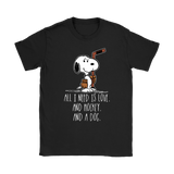 All I Need Is Love And Hockey And A Dog Snoopy Shirts | All I Need Animal Dog Hockey Ice Hockey