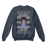 All I Want For Christmas Is To Touch Your Butt Funny Ugly Sweater | Bobs Burgers Cartoon Christmas Funny Holiday
