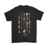 Alpha Characters And Names Stars Wars Shirts | Darth Vader Death Star Jedi Light Saber Moive