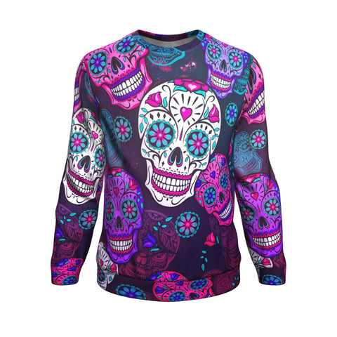 Calavera Colorful Sugar Skull Tradition All-Over Printed Sweater-XS-TeexTee