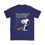 St. Louis Blues Ice Hockey Broken Teeth Snoopy NHL Shirts-Gildan Womens T-Shirt-Purple-S-TeexTee