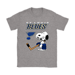 St. Louis Blues Ice Hockey Broken Teeth Snoopy NHL Shirts-Gildan Womens T-Shirt-Sport Grey-S-TeexTee
