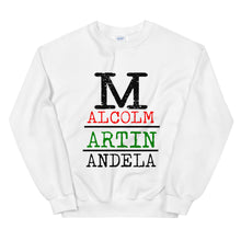 "Load image into Gallery viewer, ""MALCOLM, MARTIN, MANDELA"" Unisex Sweatshirt"