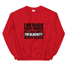 "Load image into Gallery viewer, ""Blackity Black"" Unisex Sweatshirt"