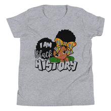 "Load image into Gallery viewer, ""I Am Black History"" Youth Short Sleeve T-Shirt"