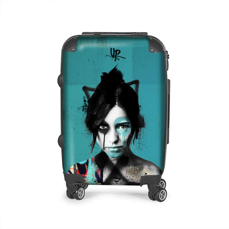 urban punkz suitcase in turquoise front view