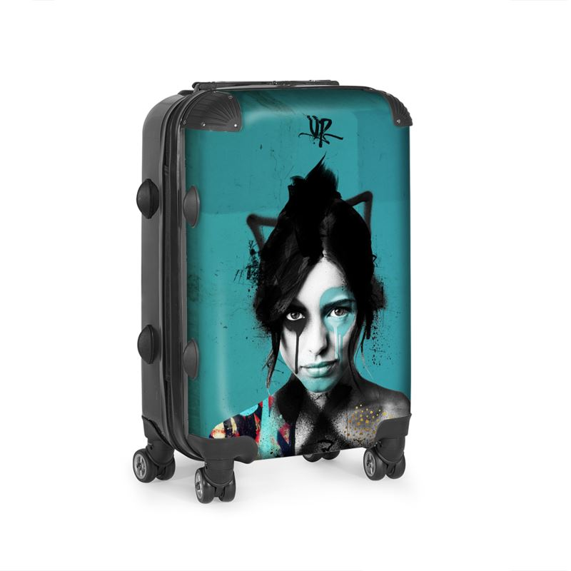 urban punkz suitcase in turquoise side view