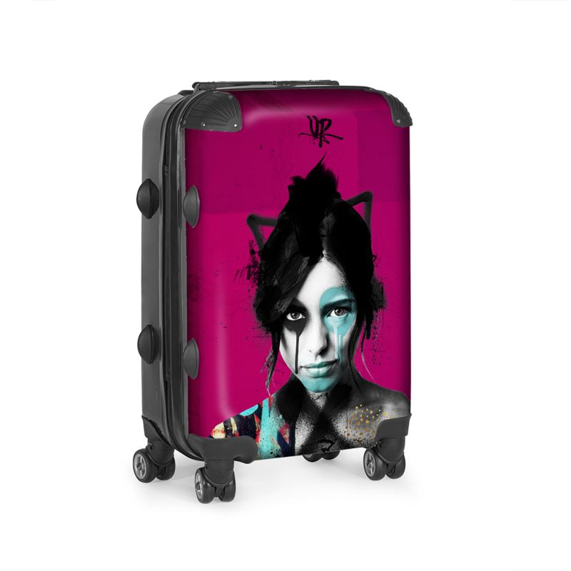 Urban Punkz suitcase in Violet side view