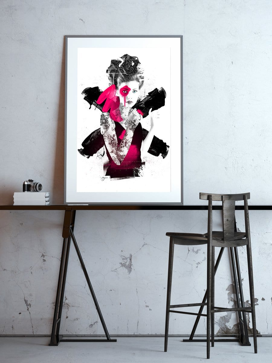 Artwork on a table of a woman created using spray paint and ink using pink and black by Urban Punkz Limited Edition Prints