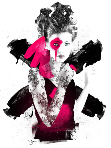 Illustration of a woman created using spray paint and ink in pink and black by Urban Punkz Limited Edition Prints
