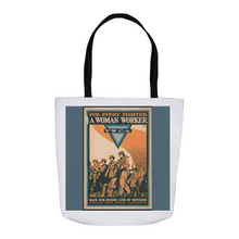 Load image into Gallery viewer, WWl Women's For Every Fighter a Woman Worker YWCA Vintage Poster Tote Bags