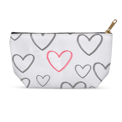 Grey with Red Heart Cosmetic Accessory Bag