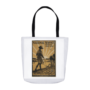 World War 1 Women Plough National Service Women's Land Army Tote Bags