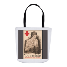 Load image into Gallery viewer, World War 1 Women's Patriotic Poster You Can Help American Red Cross Tote Bags