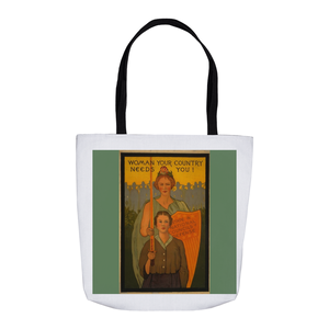 WW1 Poster Woman Your Country Needs You Tote Bags