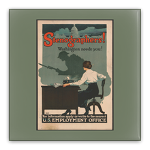 Load image into Gallery viewer, WW1 Stenographers Washington Needs You Vintage Poster Pin-Back Buttons