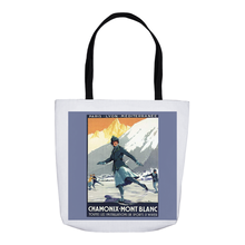 Load image into Gallery viewer, Vintage Skater Skating Mont Blanc Poster Tote Bags