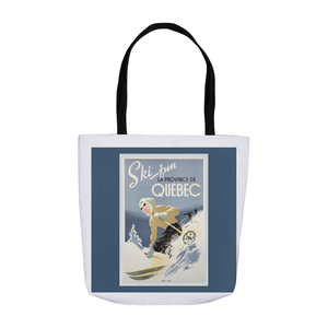 Vintage Quebec Skiing Poster Tote Bags