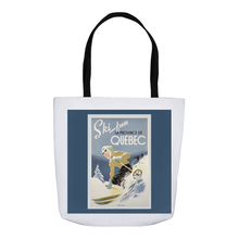 Load image into Gallery viewer, Vintage Quebec Skiing Poster Tote Bags