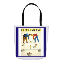 Load image into Gallery viewer, Vintage Curling Poster Tote Bags