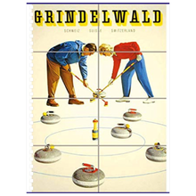 Load image into Gallery viewer, Vintage Curling Winter Sport Poster Notebooks