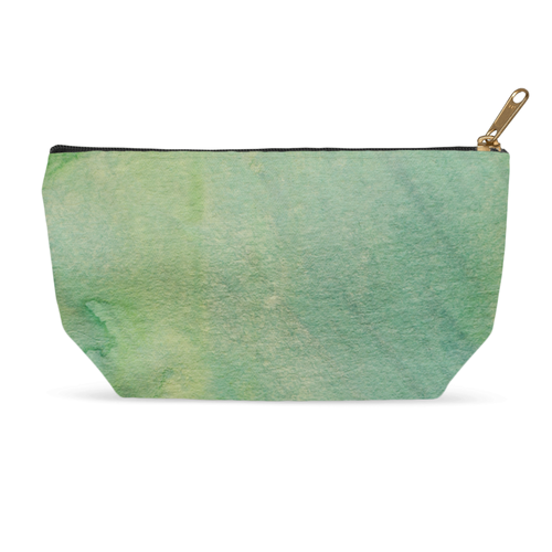 Green Watercolor Cosmetic Bag & Accessory Pouch