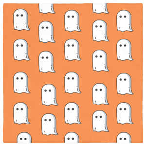 Pet White Ghost, Orange Bandana Costume for Halloween! Puppy, Dog, Cat, Trick or Treat!