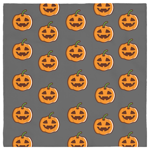 Orange Jack-o-Lantern on Grey Pet Halloween Bandana Pet Costumer, Dog, Puppy, Kitten Cat