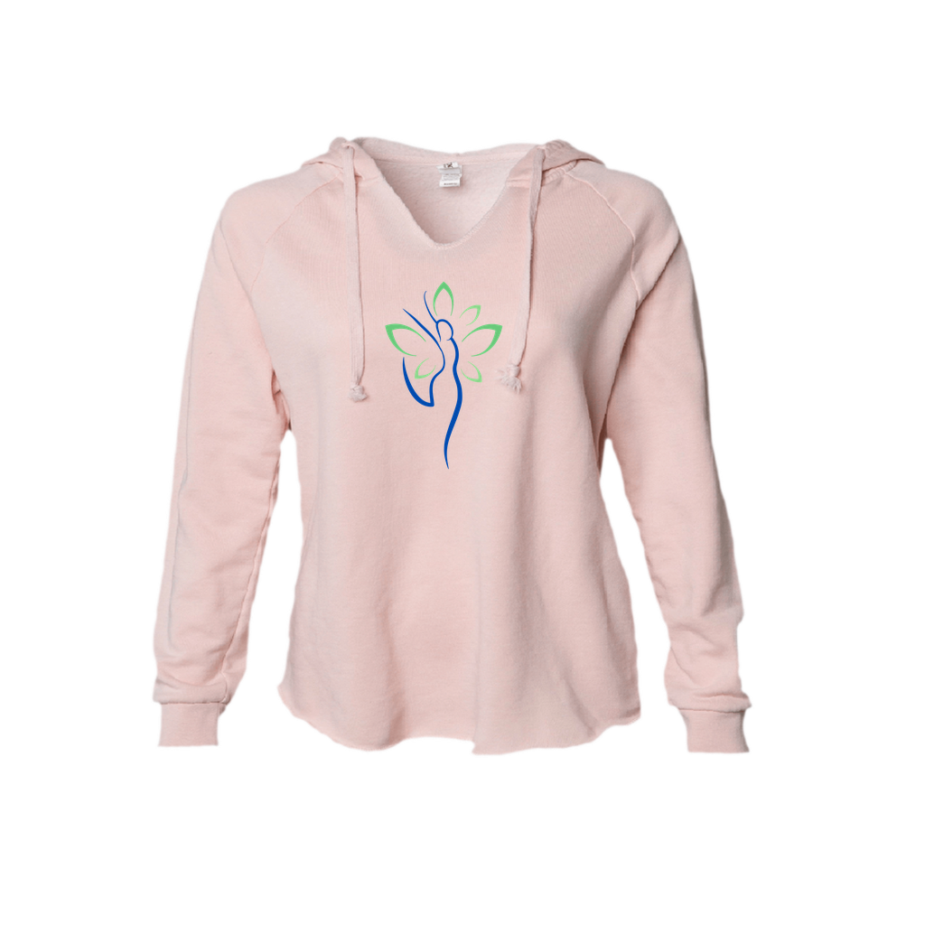 Yoga Woman Spirit Freedom and Joy Hoodie in Blush and Sage