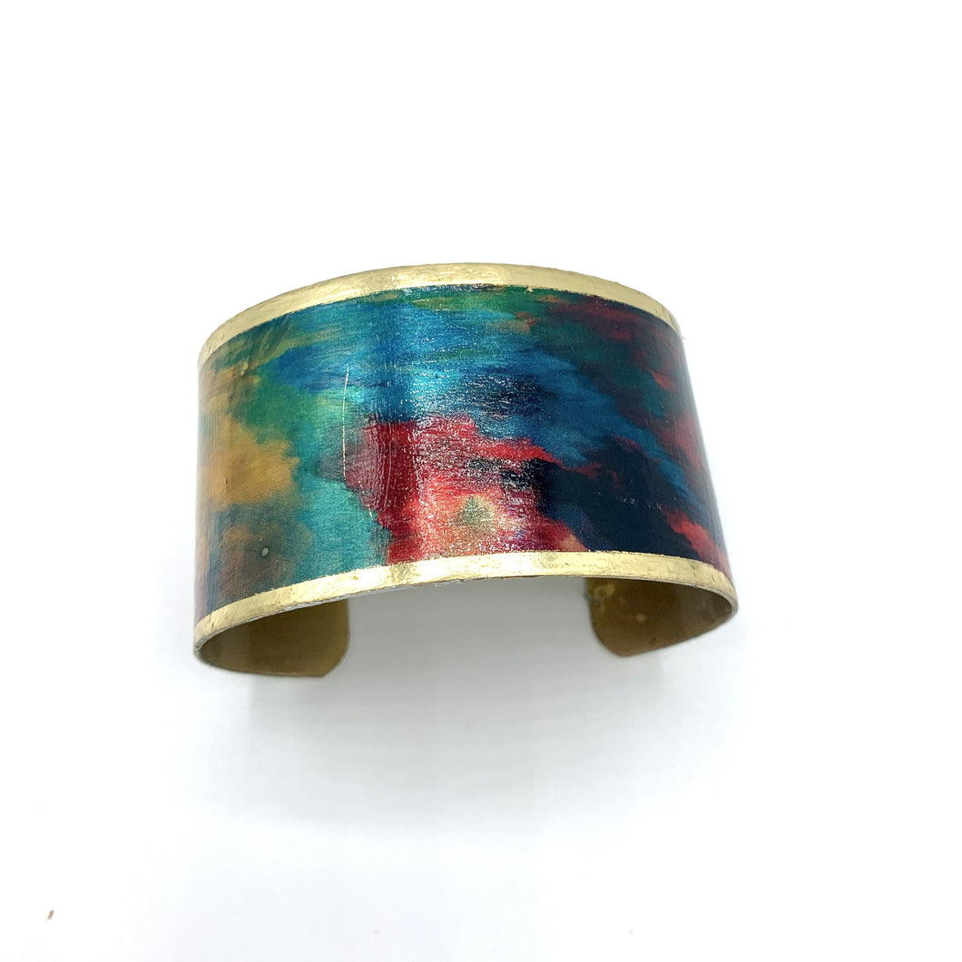 Abstract Design Boho Chic Cuff Bracelet, Brass