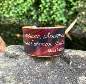 Phenomenal Woman Maya Angelou  Cuff Bracelet, Brass