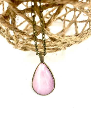 Pink Watercolor Painting Teardrop Necklace
