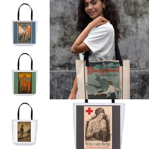 World War 1 Women's Patriotic Poster You Can Help American Red Cross Tote Bags